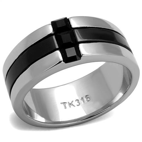 TK2516 High polished (no plating) Stainless Steel Ring with Top Grade Crystal in Jet