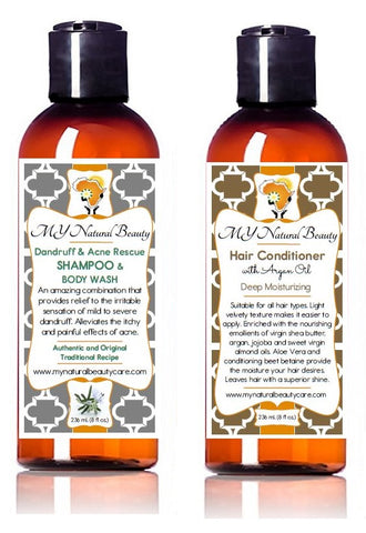 Dandruff Acne Shampoo and Body Wash | Argan Oil Deep Hair Conditioner