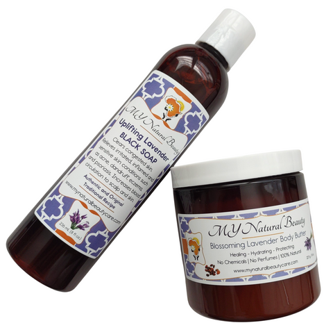 LAVENDER | Black Soap and Shea Butter Combo (BODY & SKIN) - If you want to SAVE MONEY, combine your Liquid Black Soap with a Healing Body Butter. ALL of our products are hand-made in small batches and Guaranteed FRESH! There is no need to worry about harmful side effects... Our products have NO Hidden Chemical Ingredients... South Florida, Miami, Lauderdale, USA