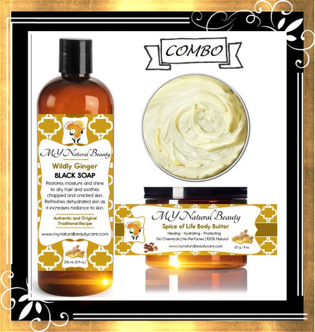 GINGER SANDALWOOD Black Soap with Body Butter COMBO