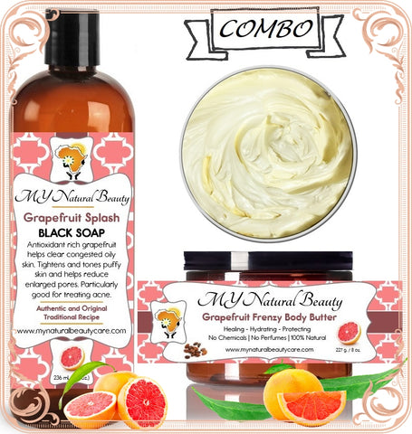 GRAPEFRUIT Body Butter and Black Soap COMBO