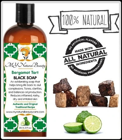 Buy REAL (NATURAL) BLACK SOAP from AFRICA (with BERGAMOT) An exhilarating burst of tarty sweet bergamot, lemongrass, and lime. MY Natural Beauty Products are made by traditional hand blending from all natural ingredients and healing herbs. BODY & SKIN CARE - Buy Liquid Black Soap Online