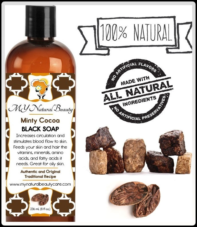 Original Liquid Black Soap with Mint and Cocoa... increases circulation and stimulates blood flow to skin. Feeds your skin and hair the vitamins, minerals, amino acids, and fatty acids it needs. Buy REAL (NATURAL) BLACK SOAP with COCOA & MINT - Indulge your skin with our chocolaty mint blend. Great for oily skin. MY Natural Beauty Products are made by traditional hand blending from all natural ingredients and healing herbs. BODY & SKIN CARE - Buy Liquid Black Soap Online - So Florida, Miami, Lauderdale