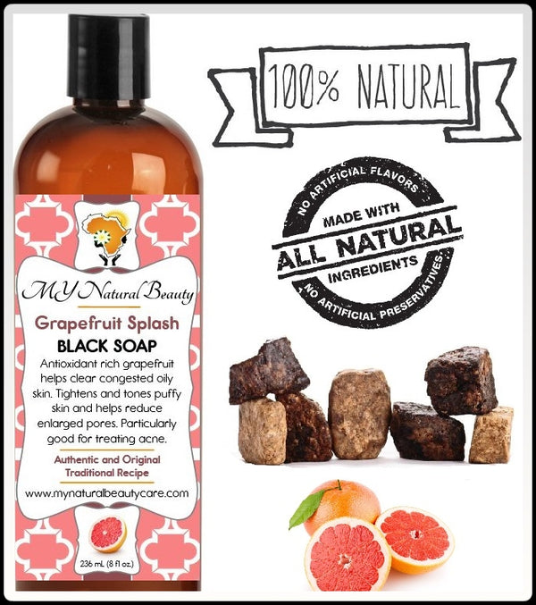 Buy REAL (NATURAL) BLACK SOAP with GRAPEFRUIT - An antioxidant rich sweet smelling citrus blend that helps clear congested skin. MY Natural Beauty Products are made by traditional hand blending from all natural ingredients and healing herbs. BODY & SKIN CARE - Liquid Black Soap Online