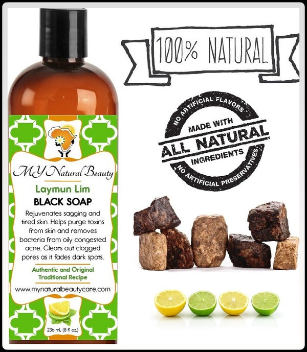 Buy REAL (NATURAL) BLACK SOAP with LEMON and LIME - High in vitamin C. Natural astringent helps clear oily and inflamed acne. MY Natural Beauty Products are made by traditional hand blending from all natural ingredients and healing herbs. BODY & SKIN CARE - Buy Liquid Black Soap Online