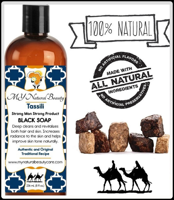 Tassili Liquid Black Soap... is a very gentle cleanser which does not over dry or strip your skin and hair of your natural oils. Deep cleans and revitalizes skin. Increases the radiance to skin. Improves skin tone naturally. Can be used as shampoo and/or body wash.