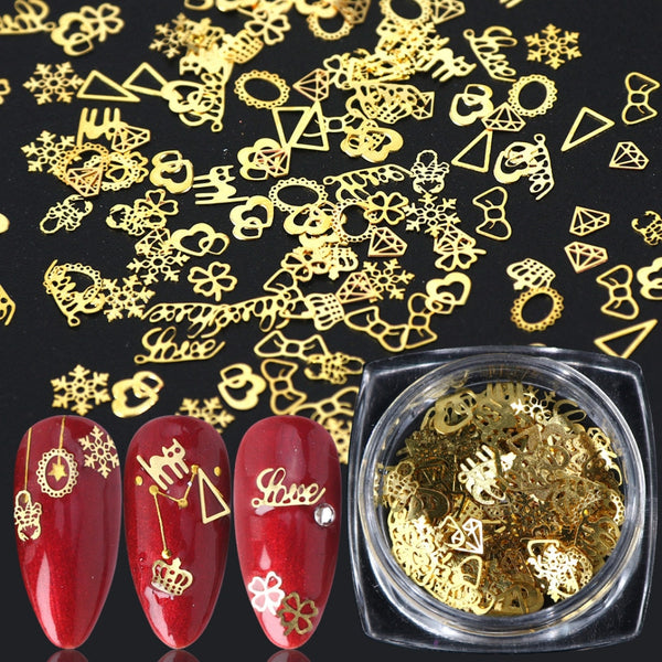 1 BOX Hollow Out Gold Nail Glitter Sequins Snow Flakes Mixed Design Decorations for Nail Arts Pillette Nail Accessories - The most popular products on Tiktok | GOWOW