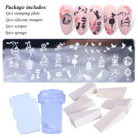 1 Set Nail Stamping Plates Geometry Lace Flower Dream Catcher with Jelly Stamper Scrapper Sponge Manicure Image Plate Tool JI804 - The most popular products on Tiktok | GOWOW