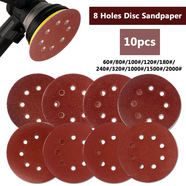 "10pcs 125mm 5"" Hook Loop Sanding Paper with 8 Hole Sand Pads Set 60Grit-2000Grit Sander Disc Abrasives for Polish Machine - The most popular products on Tiktok 