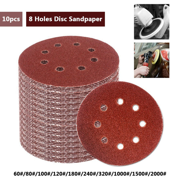 10pcs 5 Inch 125mm Round Sandpaper Eight Hole Disk Sand Sheets Grit 60-2000 Hook and Loop Sanding Disc Polish - The most popular products on Tiktok | GOWOW