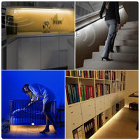 12V LED Light Tape Night Sensor 1M 2M 3M 4M 5M Motion Sensor LED Strip Bedroom Closet Stair Wardrobe Lamp 110V-220V Power Supply - The most popular products on Tiktok | GOWOW