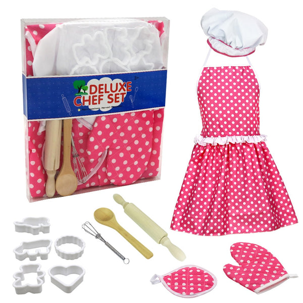 12pc Kids Cooking And Baking Set Kitchen Deluxe Chef Set Costume Pretend Role Play Kit Apron Hat Suit For 3 Years Old Children - The most popular products on Tiktok | GOWOW