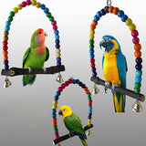 1PC Natural Wooden Parrots Swing Toy Birds Colorful Beads Bird Supplies Bells Toys Perch Hanging Swings Cage for Pets - The most popular products on Tiktok | GOWOW