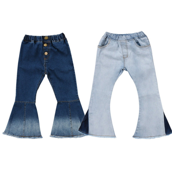 2018 New Toddler Infant Child Kids Baby Girls Denim Bell-Bottom Long Pants Hit Color Wide Leg Jeans Trousers 2-7T - The most popular products on Tiktok | GOWOW
