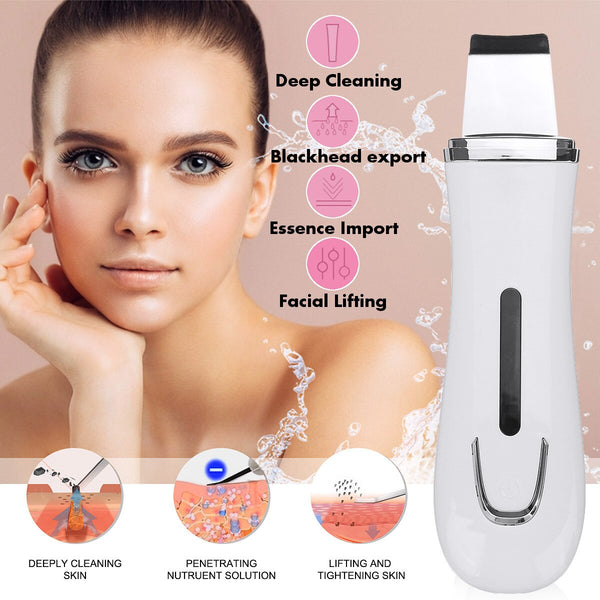 2020 Ultrasonic Skin Scrubber Deep Cleaning Face Scrubber Scrubber Remove Facial Cleansing Skin Spatula Peeling Beauty Instrumen - The most popular products on Tiktok | GOWOW