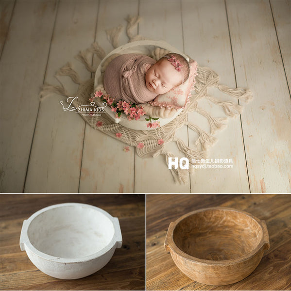2020 Vintage Newborn Photography Basket Wooden BowlBaby Photoshooting Props Classic Infant Photo Wooden Bowl Studio Wood Crib Ba - The most popular products on Tiktok | GOWOW