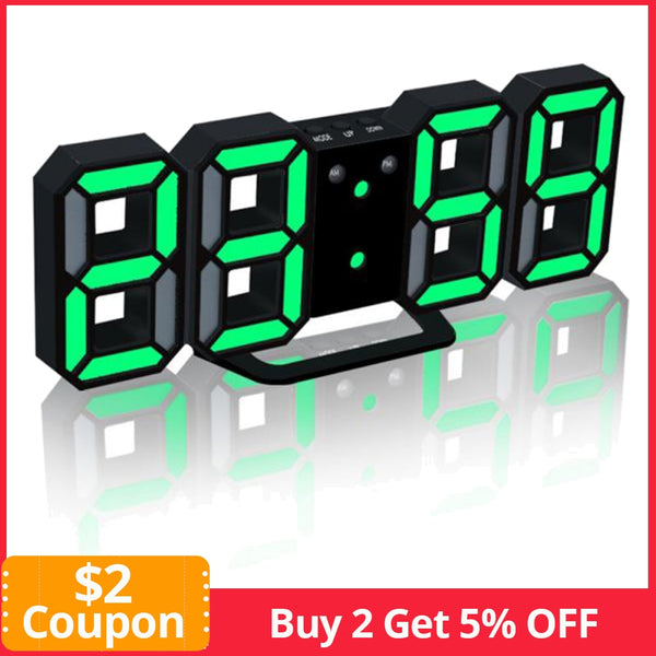24/12 Hour Display Watch Alarm LED Digital Clock Wall Hanging 3D Table Clock Calendar Temperature Display Brightness Adjustable - The most popular products on Tiktok | GOWOW