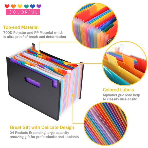 24 Pockets Foldable A4 Paper File Folder Expanding Gusset Bag Pouch Document Holder Organizer Desktop Office - The most popular products on Tiktok | GOWOW