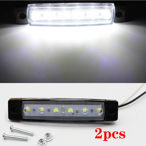 2pcs 12V Car External Lights White 6 SMD LED Auto Car Truck Lorry Side Marker Indicator Trailer Light Tail Rear Side Lamps - The most popular products on Tiktok | GOWOW