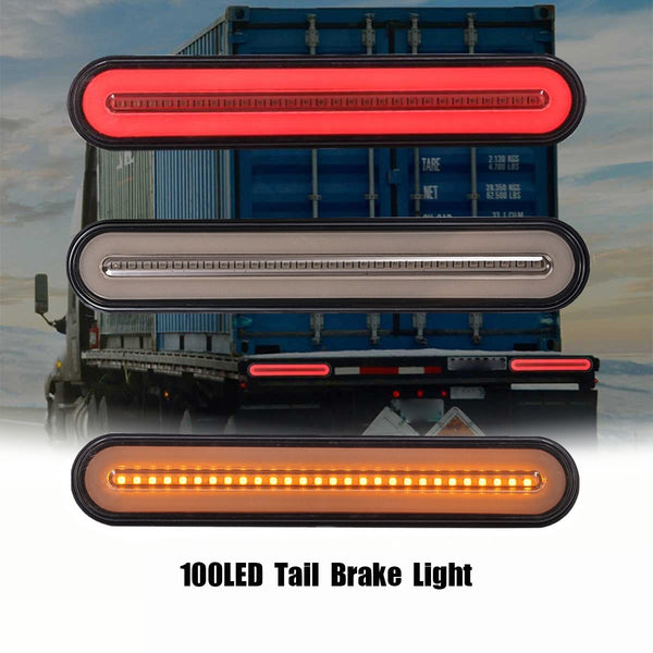2x Waterproof LED Trailer Truck Brake Light 3 in1 Neon Halo Ring Tail Brake Stop Turn Light Sequential Flowing Signal Light Lamp - The most popular products on Tiktok | GOWOW