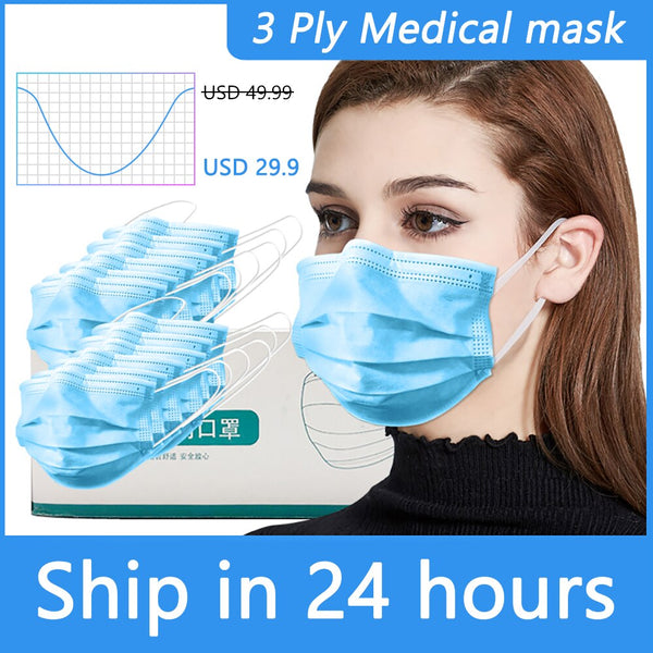 3 Ply Disposable Face Masks Prevent Virus Earloop Face Mouth Masks facial Medical mask Surgical Cover Anti Dust Respirator N95 - The most popular products on Tiktok | GOWOW