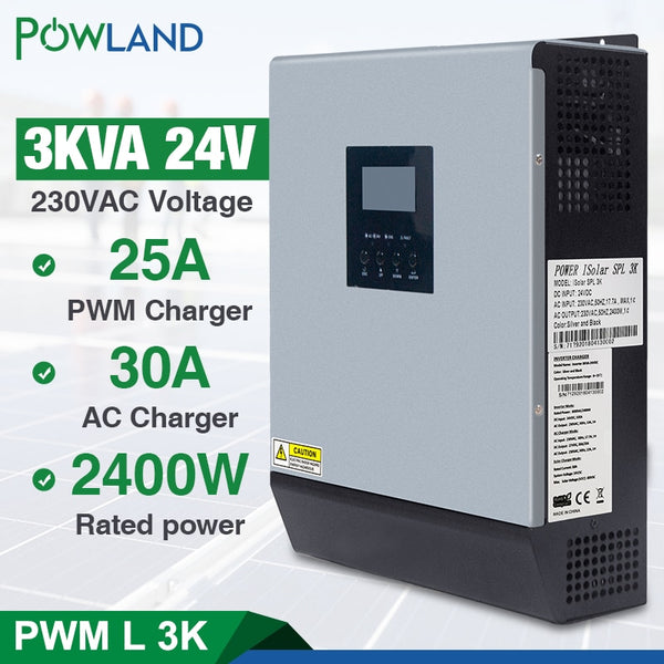 3kva Solar Inverter 24V 220V Hybrid Inverter Pure Sine Wave Built-in 50A PWM Solar Charge Controller Battery Charger inversor - The most popular products on Tiktok | GOWOW