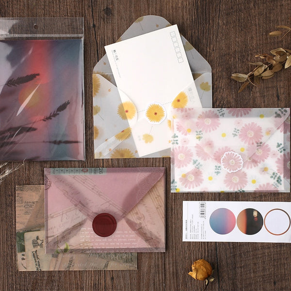 3pcs/pack flower sunset Golden Translucent Envelope Message Card Letter Stationary Storage Paper Gift - The most popular products on Tiktok | GOWOW