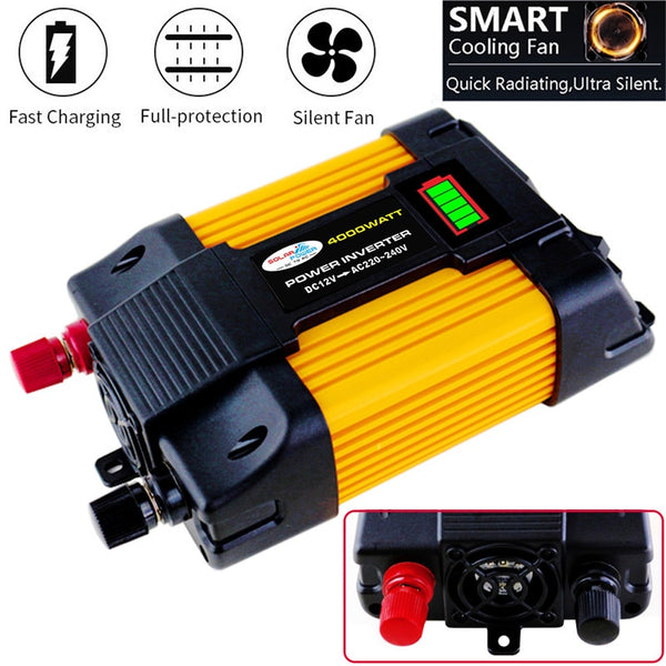 4000W Power Inverter Solar Car Boat Inverters Converter DC 12V To AC 220V USB Charger Wave Inverters SolarInverter 220v - The most popular products on Tiktok | GOWOW