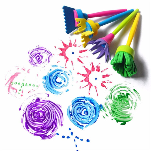 4Pcs/set DIY Sponge Drawing Paint Brushes Graffiti Toys Painting Creative Gift Toys for Children Stamps Toys - The most popular products on Tiktok | GOWOW