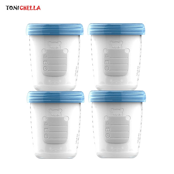4pieces/ Baby Breast Milk Storage Bottle Collection Infant Newborn Food Freezer Container BPA Free Products Blue 180ml T0393 - The most popular products on Tiktok | GOWOW