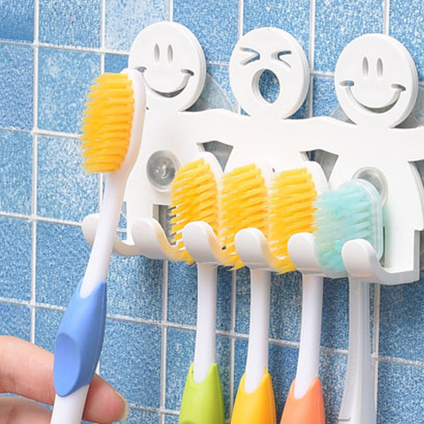 5 Position Tooth Brush Holder Suction Hooks Bathroom Sets Cute Smile Cartoon Sucker Toothbrush Holder - The most popular products on Tiktok | GOWOW