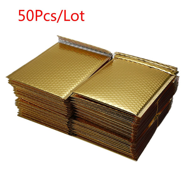 50 PCS/Lot Different Specifications Gold Plating Paper Bubble Envelopes Bags Mailers Padded Shipping Envelope Bubble Mailing Bag - The most popular products on Tiktok | GOWOW