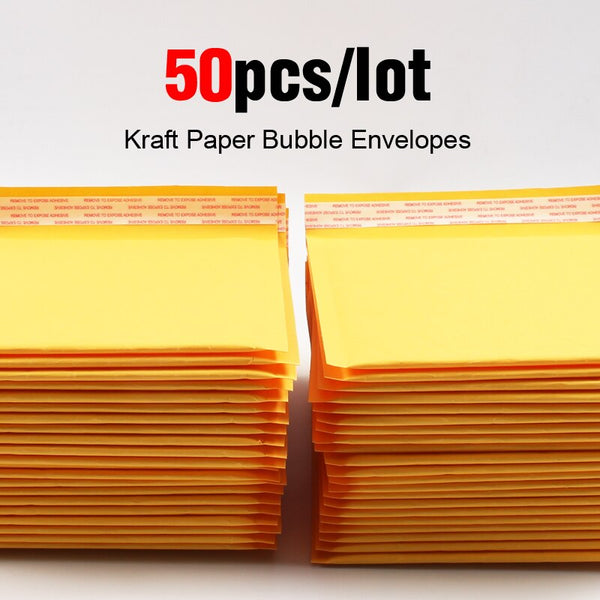 50pcs/lot Kraft Bubble Mailer Poly Shipping Envelopes with Bubble Shipping Bags Mailer Mailing Bags Padded Envelopes Packaging - The most popular products on Tiktok | GOWOW