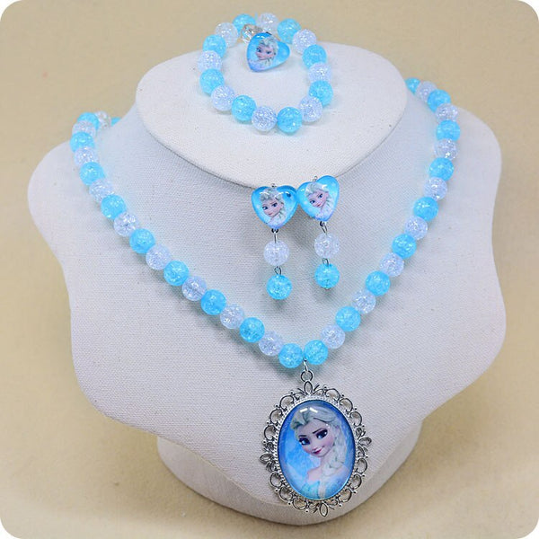 5pcs Disney cartoon Frozen Elsa children necklace+bracelet+ring+clip earring doll accessories girl birthday gift cosmetic chain - The most popular products on Tiktok | GOWOW