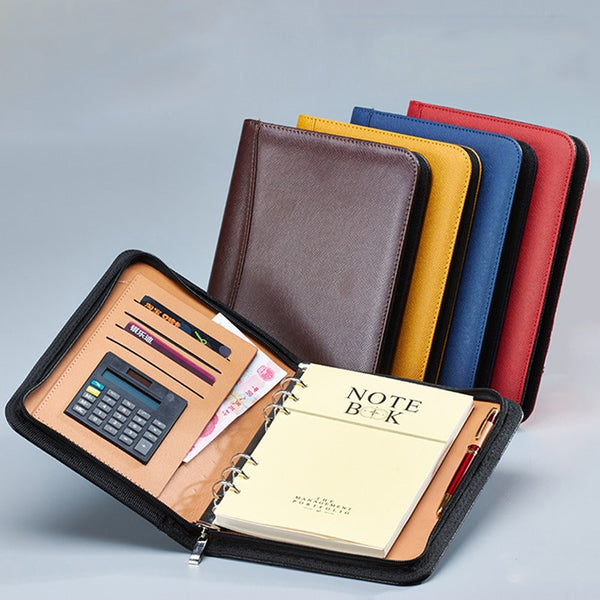 A6/A5/B5 Manager Folder Padfolio Diary Notebook and Journal Calculator Binder Spiral Note Book Business Zipper Bag Line Handbook - The most popular products on Tiktok | GOWOW