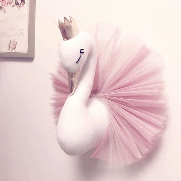 Animal Head Swan Flamingo Wall Decor INS unicorn Bear Hanging Mount Stuffed Plush Toy Princess Doll Girl Kid Gift Nursery Room - The most popular products on Tiktok | GOWOW