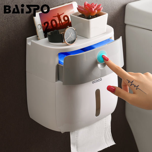 BAISPO Double Layer Toilet Paper Holder Waterproof Storage Box Wall Mounted Toilet Roll Dispenser Portable Toilet Paper Holders - The most popular products on Tiktok | GOWOW