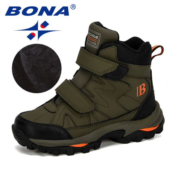 BONA 2019 New Popular Style Winter Children's Snow Boots Boys Girls Fashion Waterproof Warm Shoes Kids Thick Mid Non-Slip Boots - The most popular products on Tiktok | GOWOW