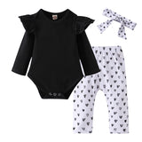 Baby Girl Clothes Newborn Infant Autumn 3Pcs Set Cotton T-shirt Pants Headband fall Outfits Clothes Baby Girls Clothing Suit - The most popular products on Tiktok | GOWOW