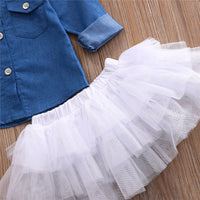 Baby Girl Summer Clothing Sets Baby Girls Clothes Denim Shirt Top +Tutu Skirts+Headband 3pcs Outfits Sets 0-5T - The most popular products on Tiktok | GOWOW