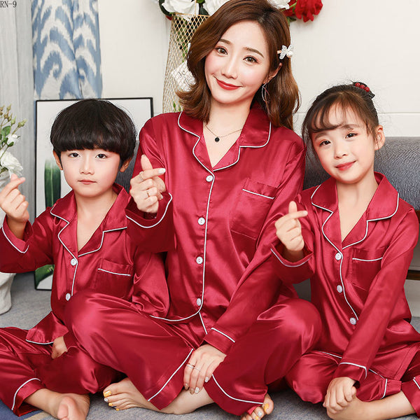 Baby's Pajamas Set 2019 Summer Long Sleeve Children's Sleepwear Suit Mom Son and Daughter Soild Satin Family Matching Outfits - The most popular products on Tiktok | GOWOW