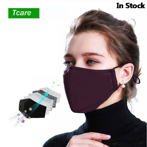 Bacteria Proof Flu Face Masks Care 1Pcs Cotton PM2.5 Black Mouth Mask Anti Dust Activated Bamboo Fiber Windproof Mouth-muffle - The most popular products on Tiktok | GOWOW