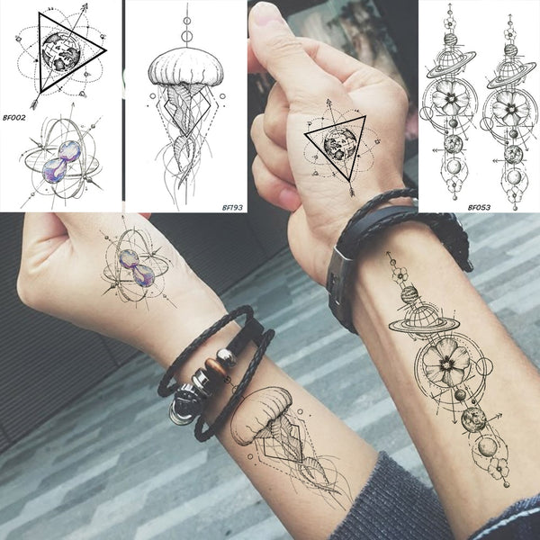 Baofuli Waterproof Temporary Sticker Geometric Planet Jellyfish Tattoo Black Triangle Tattoos Body Arm Men Fake Tatoos Chains - The most popular products on Tiktok | GOWOW