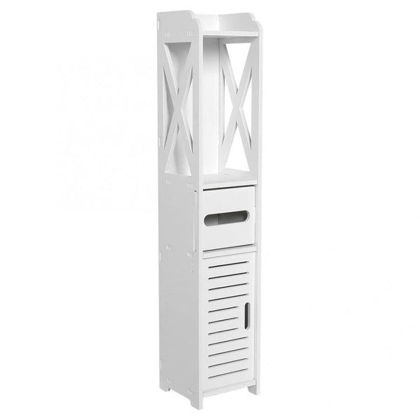 Bathroom Cabinet 80X15.5X15.5CM Bathroom Toilet Furniture Cabinet White Wood-Plastic Board Cupboard Shelf Tissue Storage Rack - The most popular products on Tiktok | GOWOW
