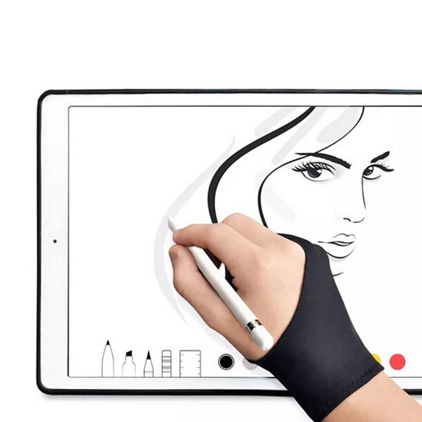 Black 2 Finger Anti-fouling Glove,both For Right And Left Hand Artist Drawing For Any Graphics Drawing Tablet - The most popular products on Tiktok | GOWOW