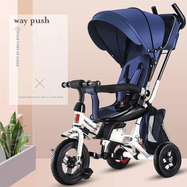 Child Tricycle Stroller Folding Three Wheels Stroller Bicycle Rotating Seat Baby Car Convertible Handle Free-inflation Wheels - The most popular products on Tiktok | GOWOW