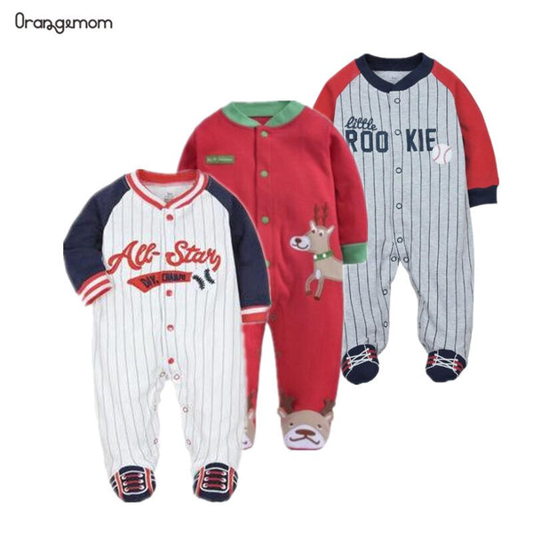 Christmas Baby Clothing 100% Cotton rompers Pajamas Baby Long Sleeved romper sport Baseball Clothes Baby Juimpsuit 0-12m Clothes - The most popular products on Tiktok | GOWOW