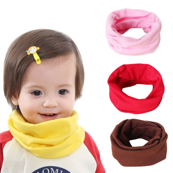 Cute Cotton Kids Scarf Baby Solid Print Children Autumn Winter Warm Scarves Boys Girls Neck Collar O Ring Scarf - The most popular products on Tiktok | GOWOW