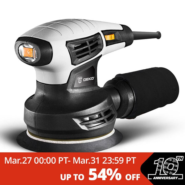 DEKO DKSD28Q1 280W Random Orbit Sander  with 15 Sheets of sandpaper Dust exhaust and Hybrid dust canister - The most popular products on Tiktok | GOWOW