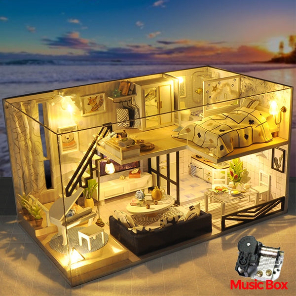 DIY Doll House Furnitures Miniature Doll house Dust Cover Wooden Dollhouse Light  House For Dolls Handmade Toys For Children #E - The most popular products on Tiktok | GOWOW